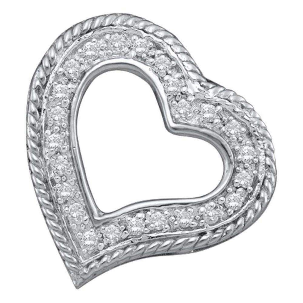 10k White Gold Womens Round Diamond Small Heart Fashion Pendant 1/5 Ctw