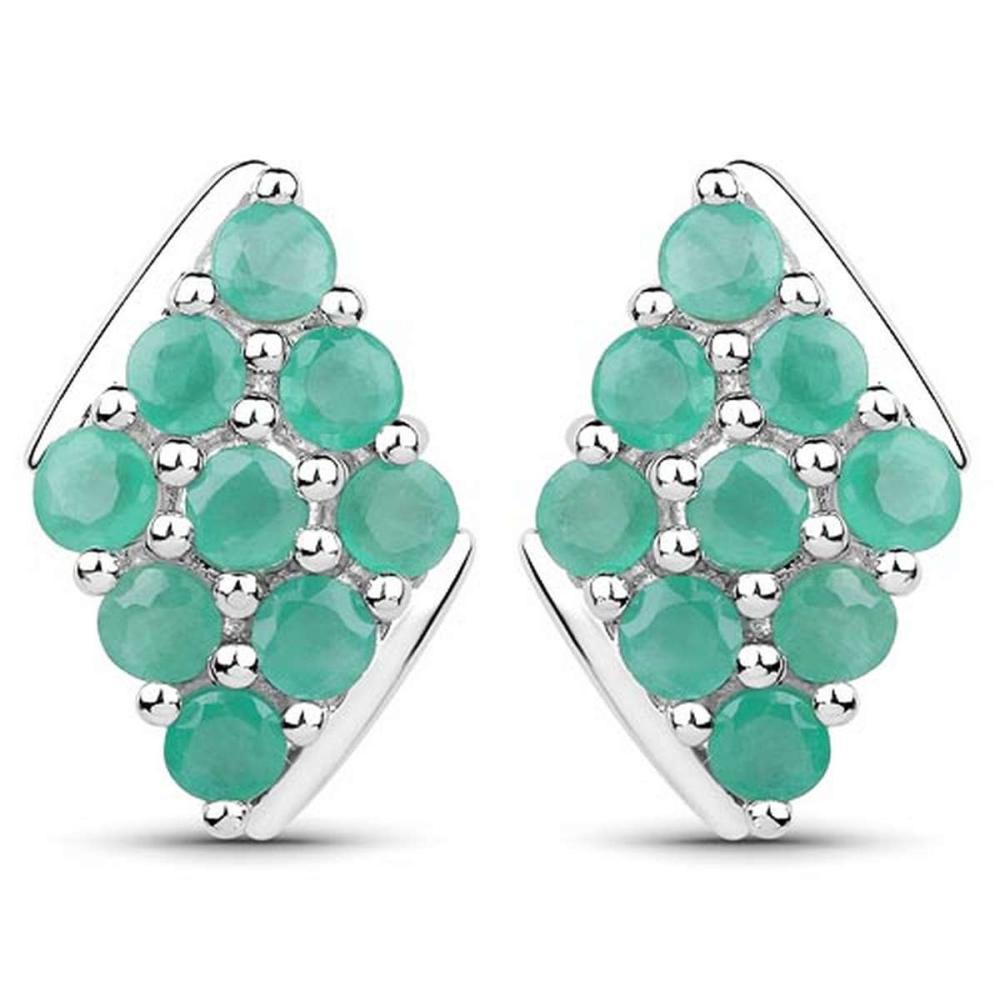1.80 CTW Genuine Emerald .925 Sterling Silver Earrings