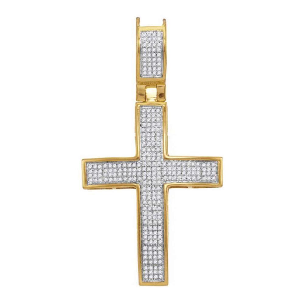 10kt Yellow Gold Mens Round Diamond Roman Cross Charm Pendant 1/2 Cttw