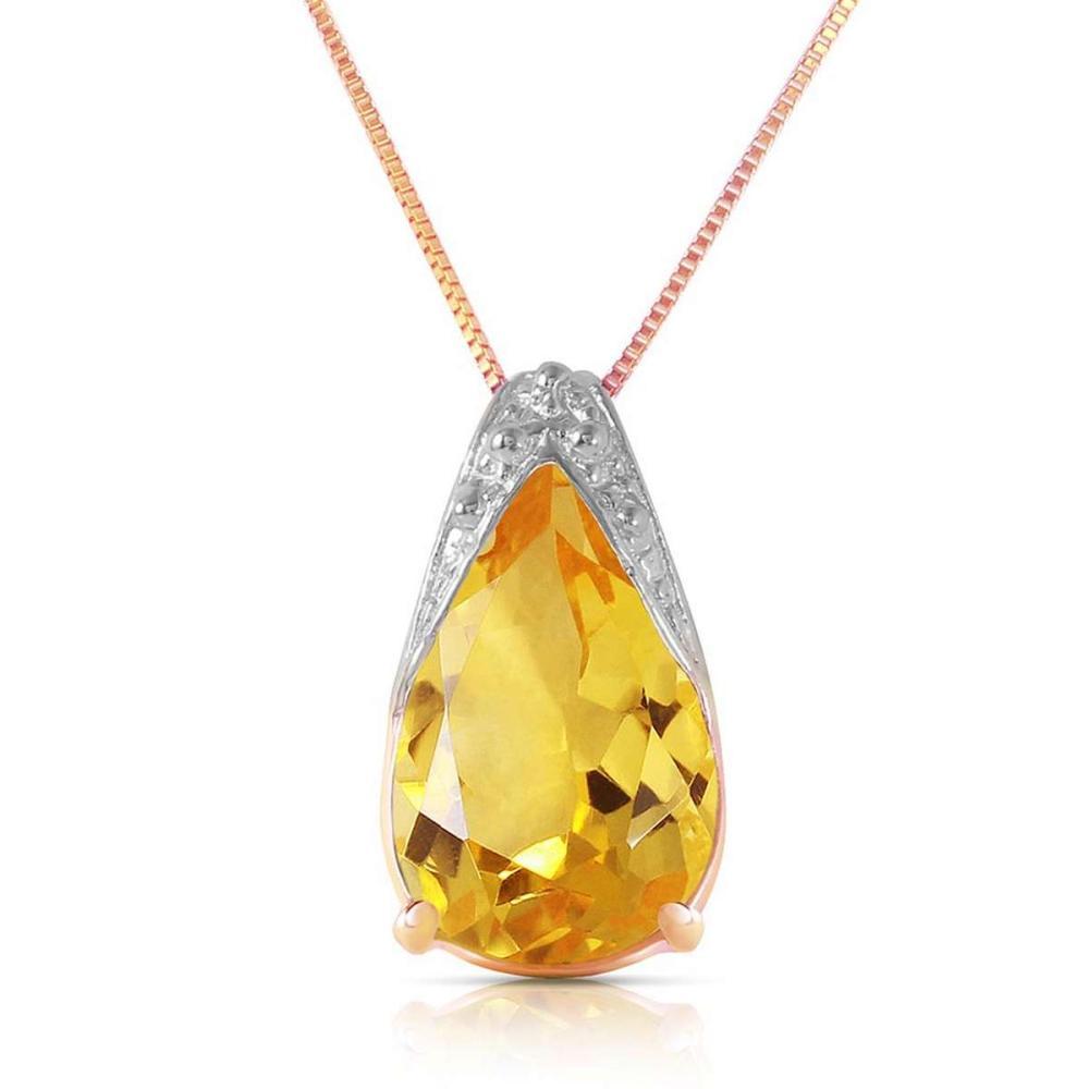 5 Carat 14K Solid Rose Gold Necklace Natural Citrine
