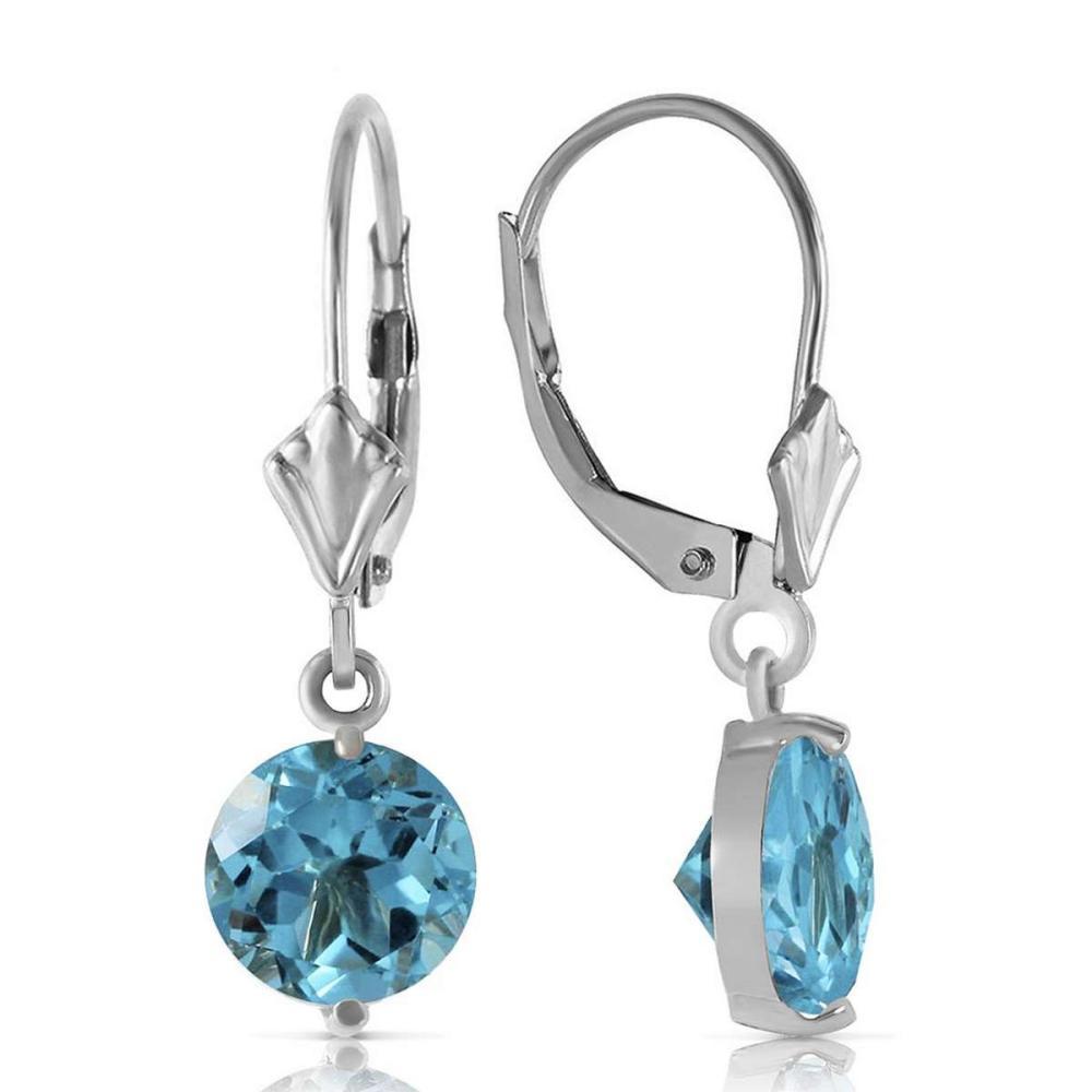 3.1 CTW 14K Solid White Gold Grace Your Ear Blue Topaz Earrings
