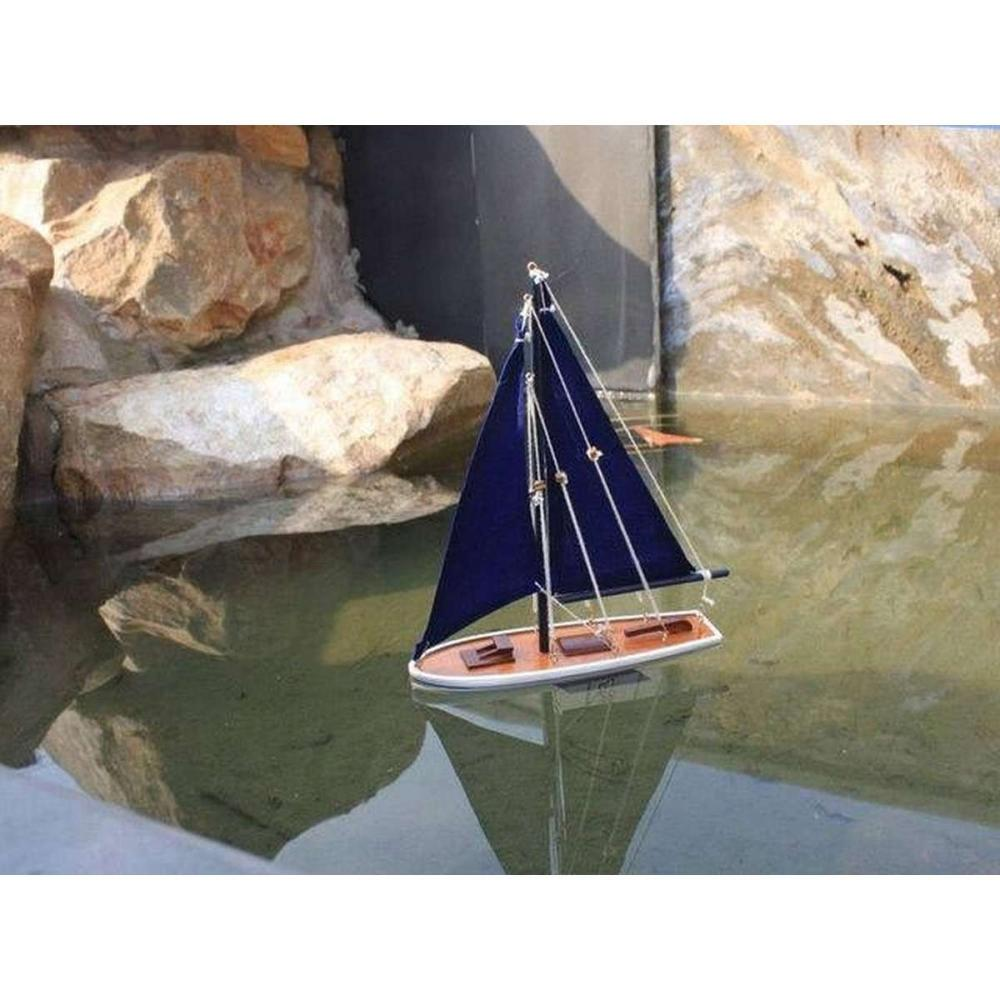 Wooden It Floats 12in. - Blue Floating Sailboat Model with Blue Sails