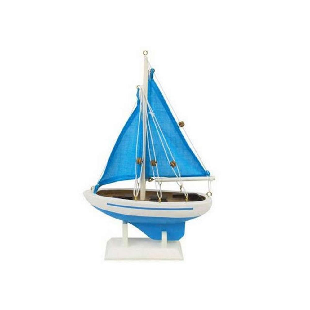 Wooden Light Blue with Light Blue Sails Pacific Sailer Model Sailboat Decoration 9in.