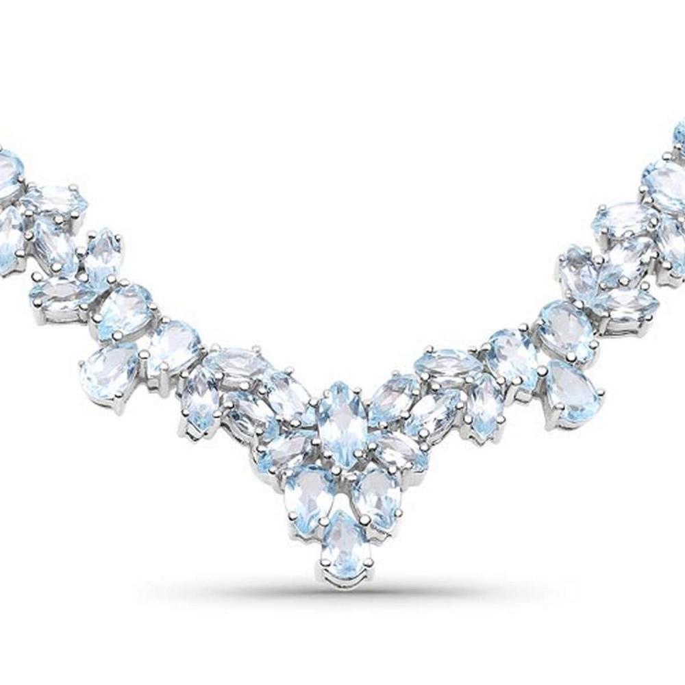 56.18 CTW Genuine Blue Topaz .925 Sterling Silver Necklace