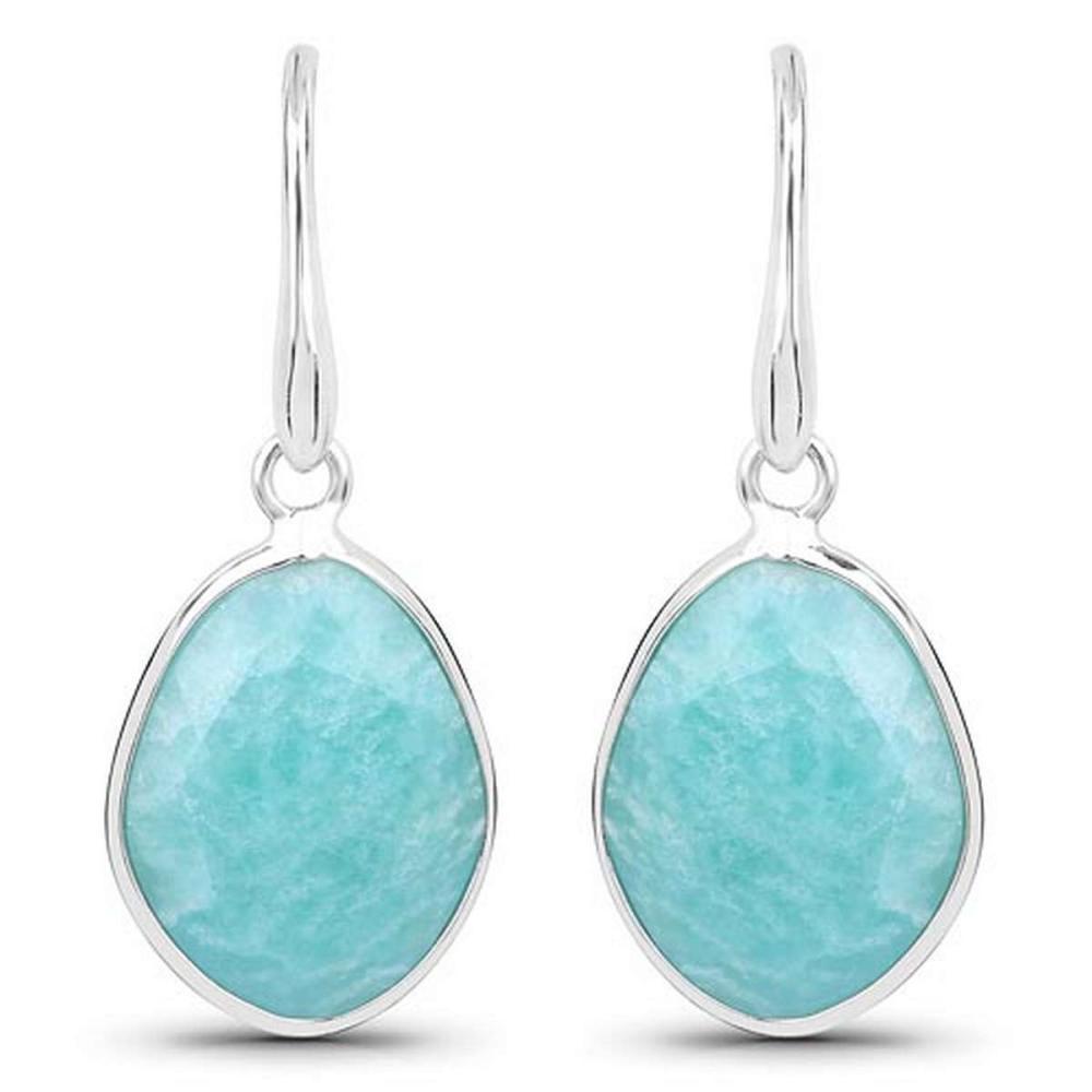 7.92 CTW Genuine Amazonite .925 Sterling Silver Earrings