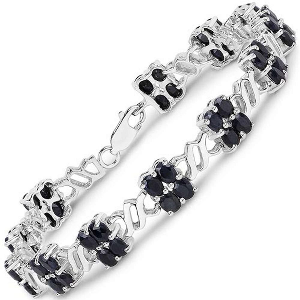 10.56 CTW Genuine Black Sapphire .925 Sterling Silver Bracelet