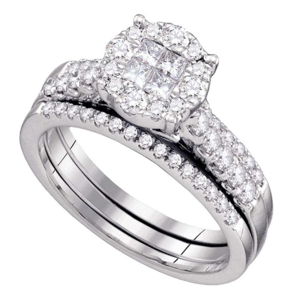 14k White Gold Diamond Soleil Bridal Wedding Engagement Ring Set 1.00 Ctw