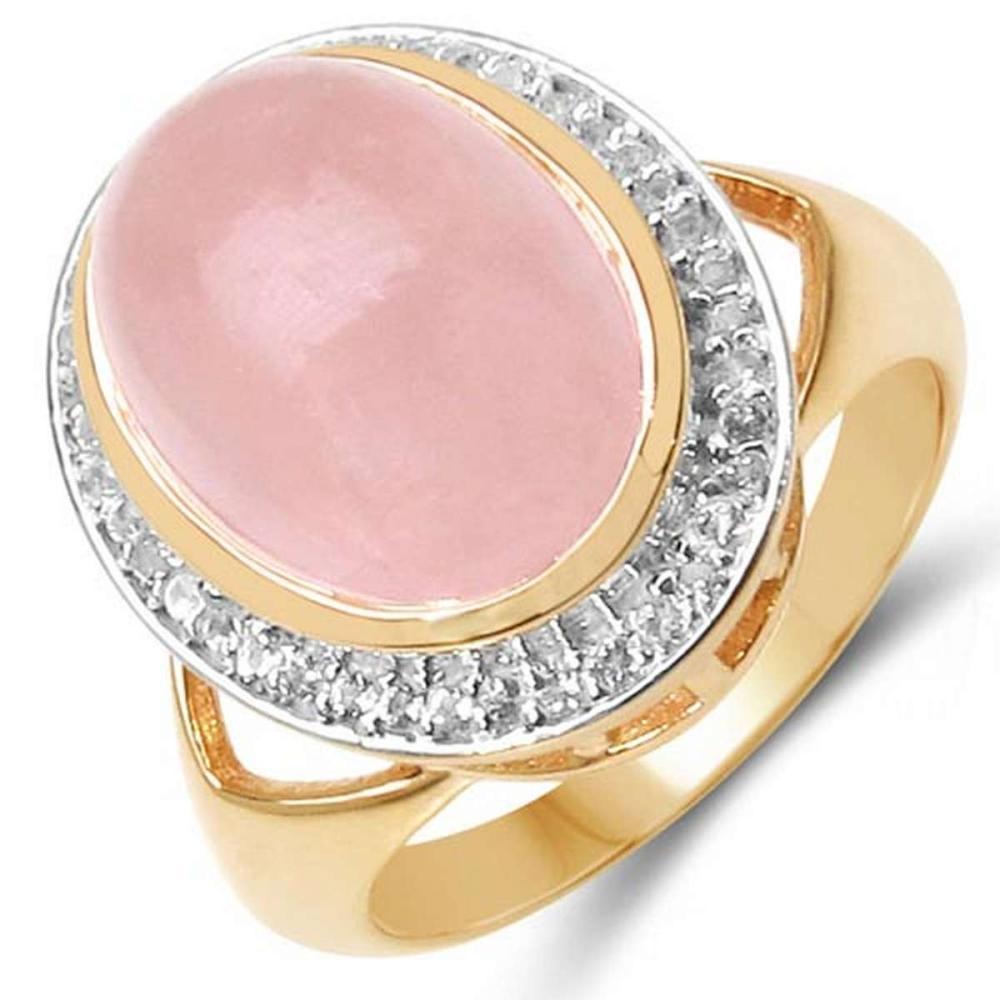 14K Rose Gold Plated 7.85 Carat Genuine Morganite & White Topaz .925 Sterling Silver Ring