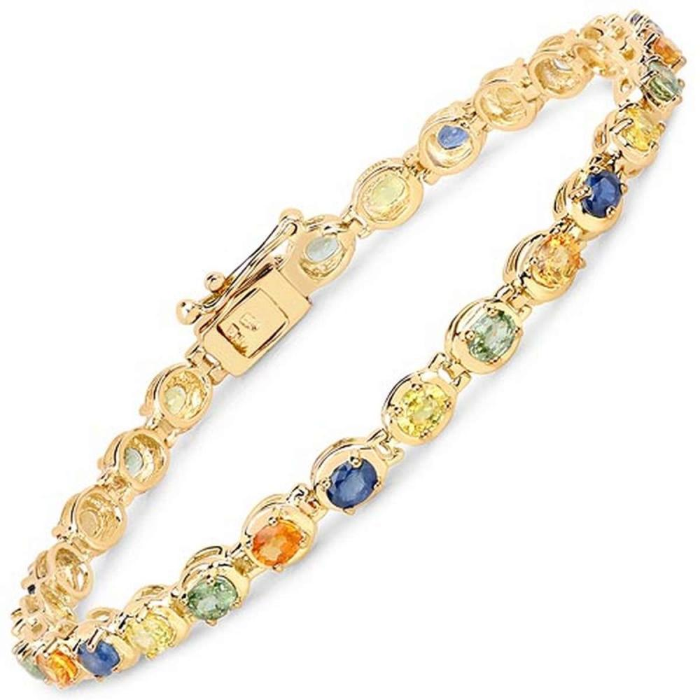 14K Yellow Gold Plated 5.40 CTW Genuine Multi Sapphire .925 Sterling Silver Bracelet