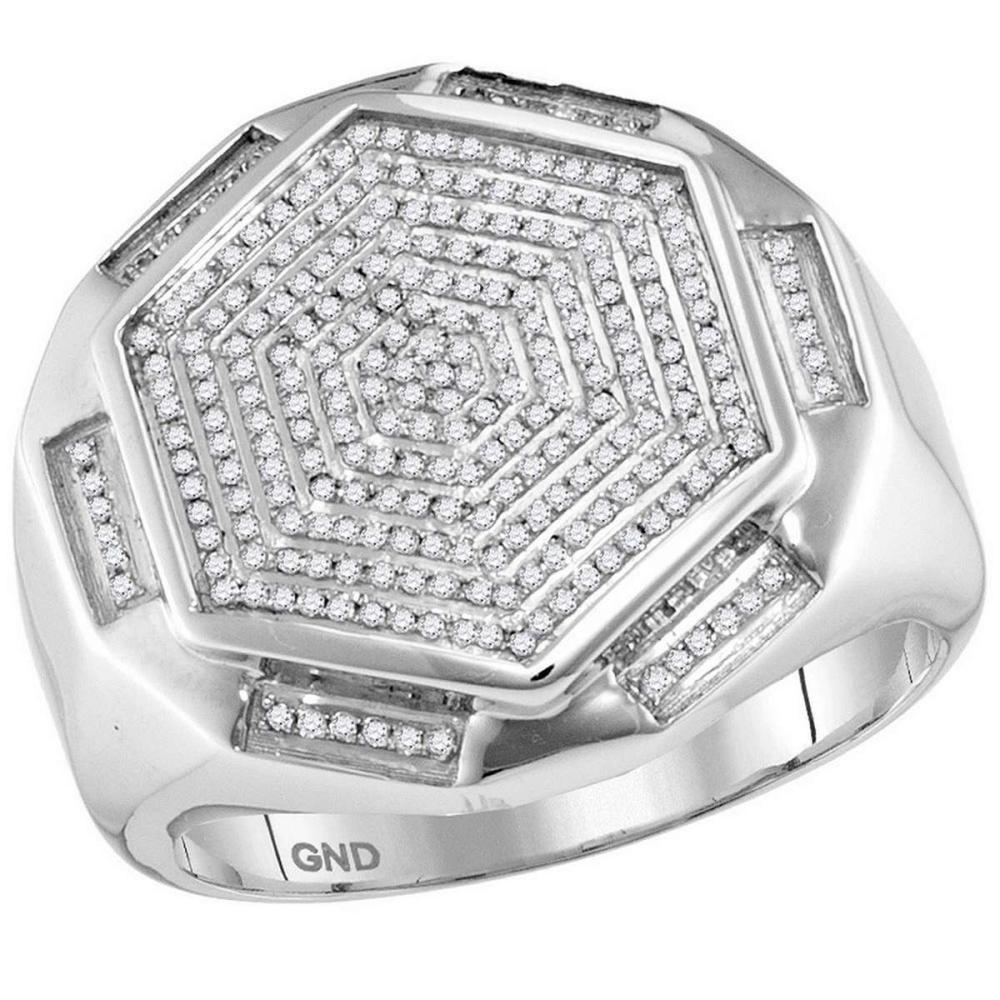 10k White Gold Mens Round Diamond Hexagon Cluster Fashion Ring 1/2 Cttw