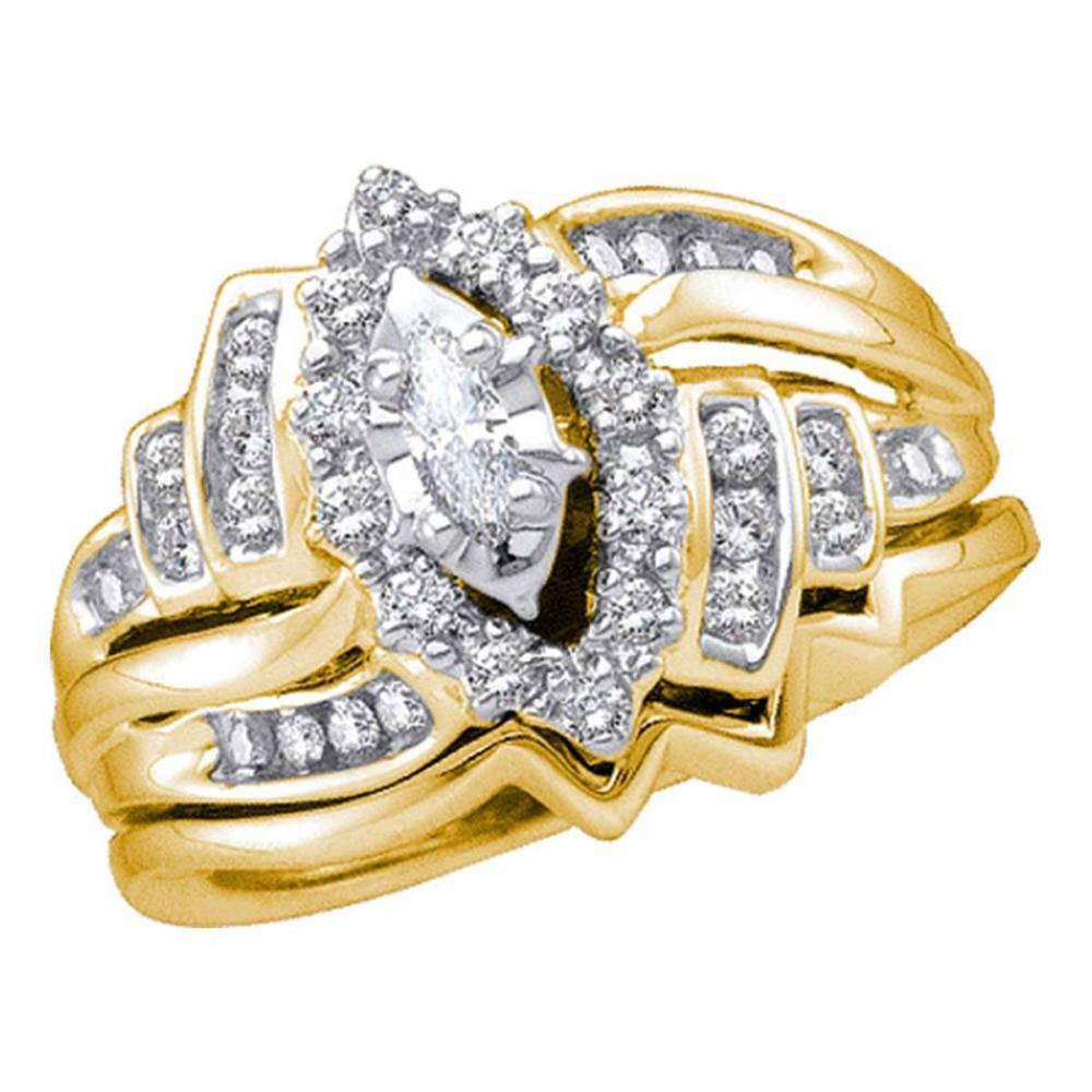 14k Yellow Gold Marquise Diamond Bridal Wedding Engagement Ring Set 1/2 Ctw