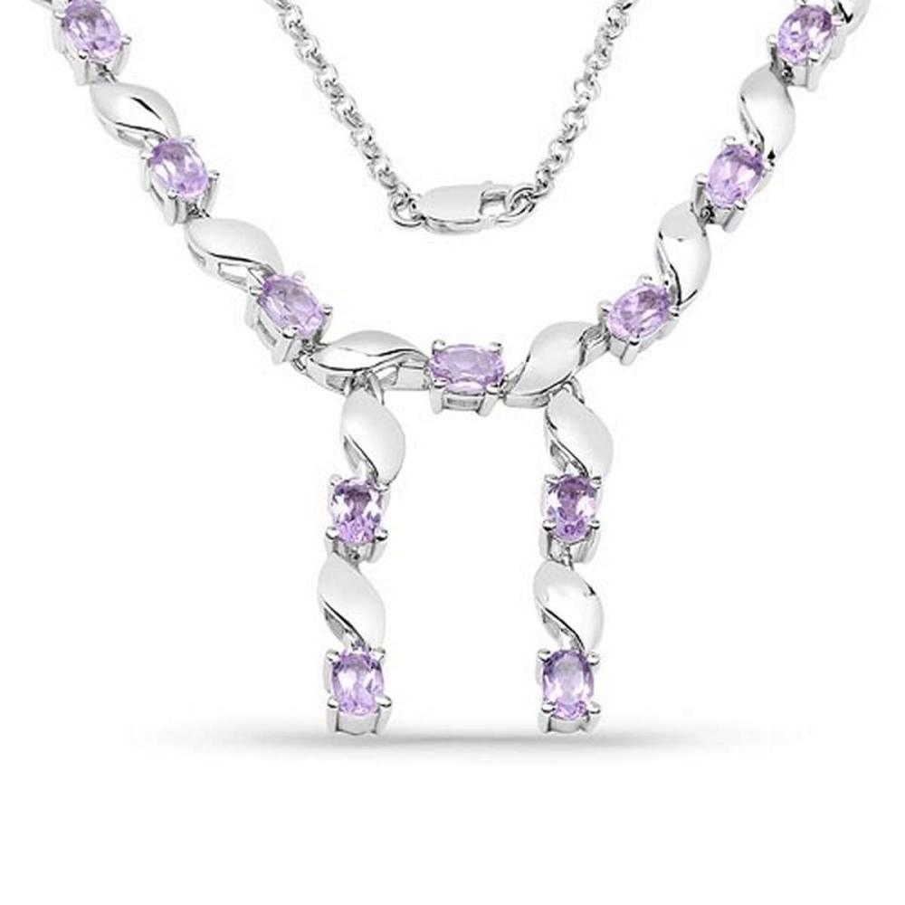 6.45 CTW Genuine Amethyst .925 Sterling Silver Necklace