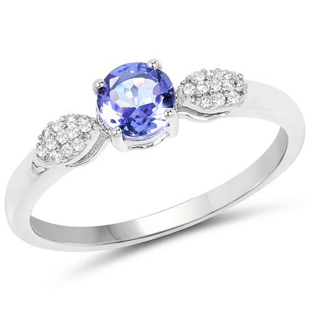 0.54 Carat Genuine Tanzanite and White Diamond 14K White Gold Ring