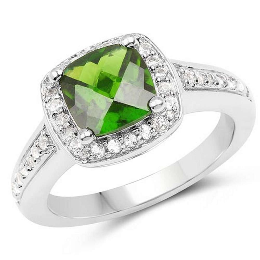 1.67 CTW Genuine Chrome Diopside & White Topaz .925 Sterling Silver Ring