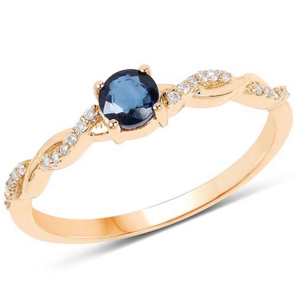 0.37 Carat Genuine Blue Sapphire and White Diamond 14K Yellow Gold Ring