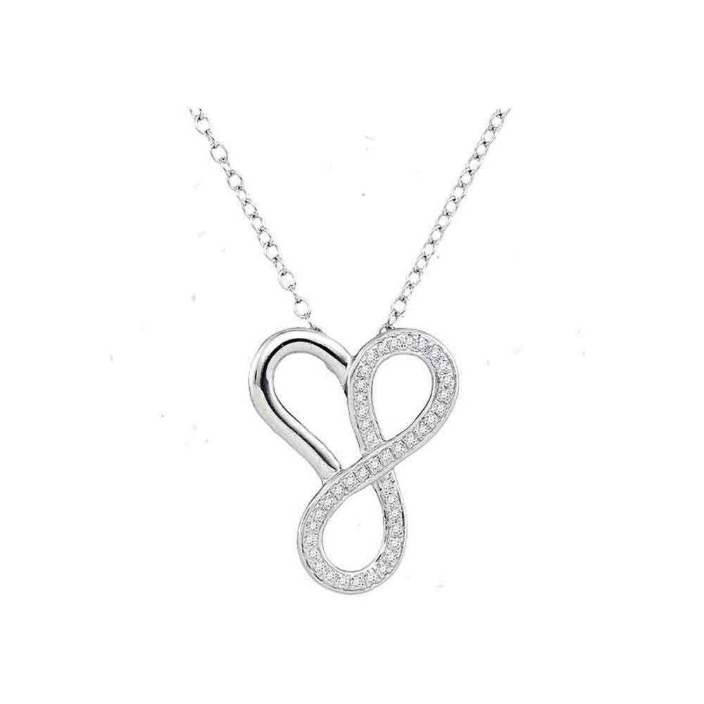 10k White Gold Womens Round Diamond Heart Infinity Pendant Necklace 1/6
