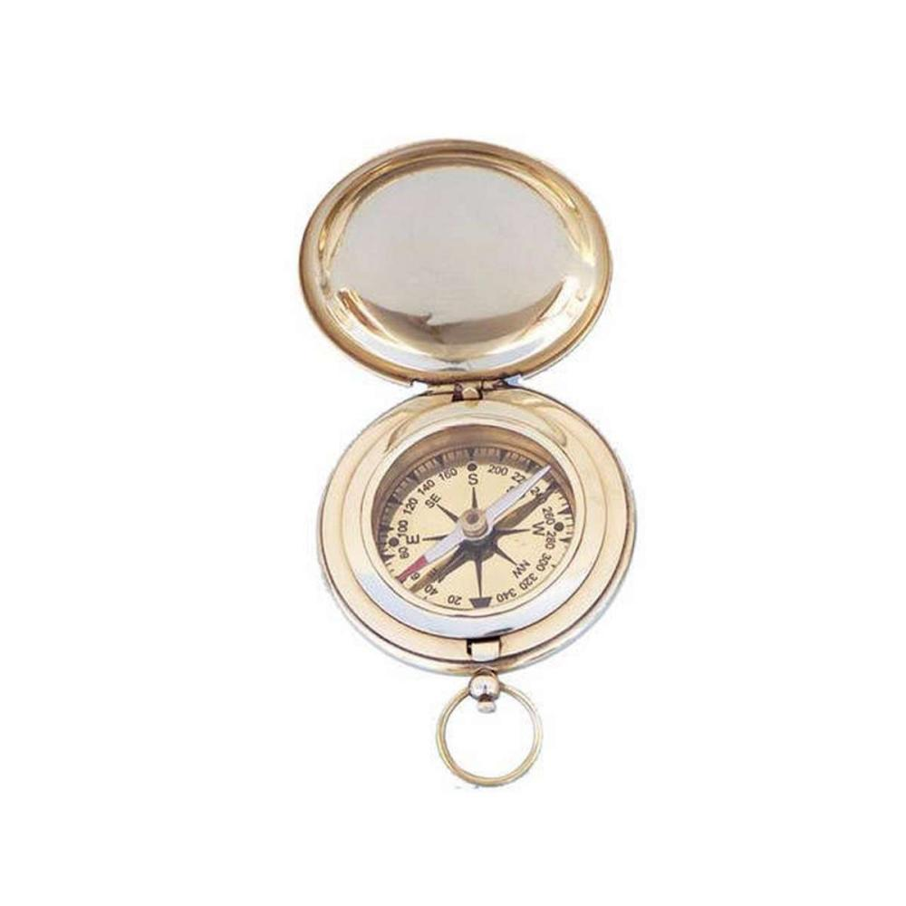 Solid Brass Captains Push Button Compass 3in.