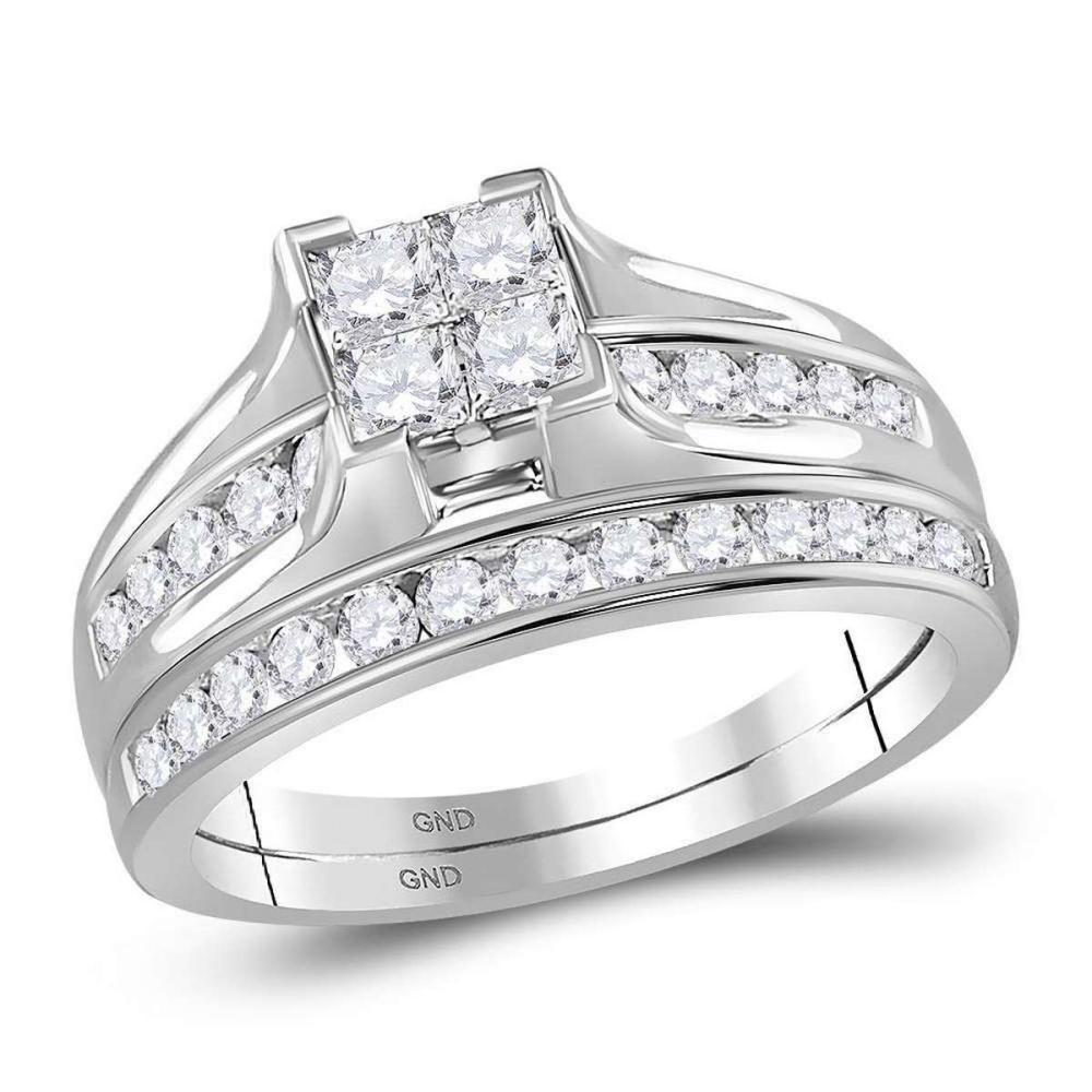 10k White Gold Princess Diamond Bridal Wedding Engagement Ring Set 1.00 Ctw