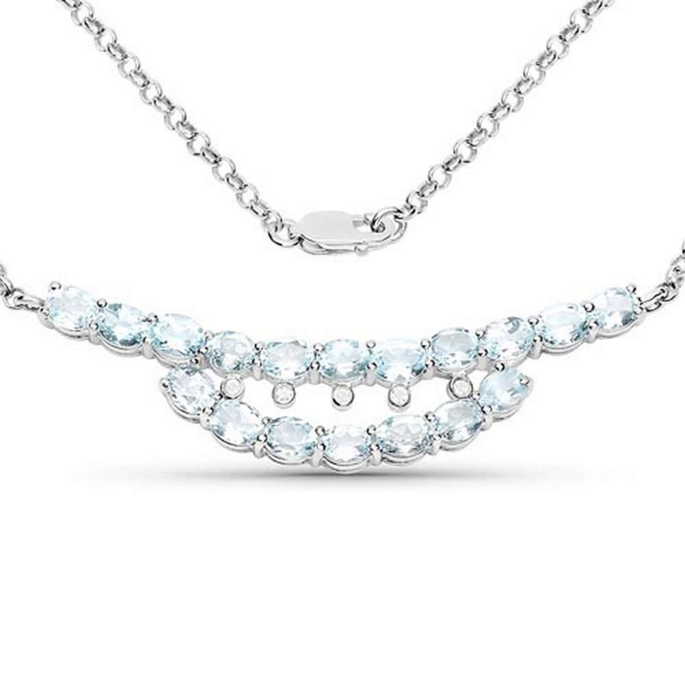 6.51 CTW Genuine Blue Topaz and White Topaz .925 Sterling Silver Necklace