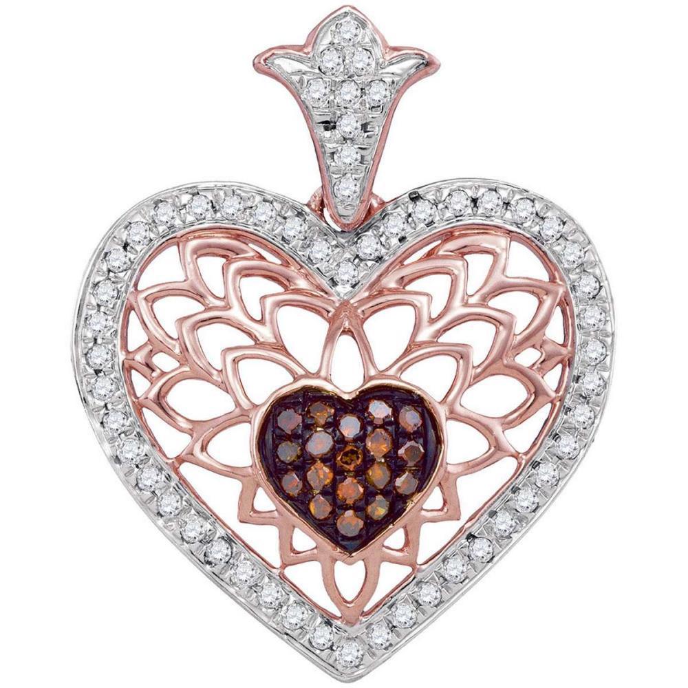 10k Rose Gold Round Red Color Enhanced Diamond Filigree Heart Pendant 1/4