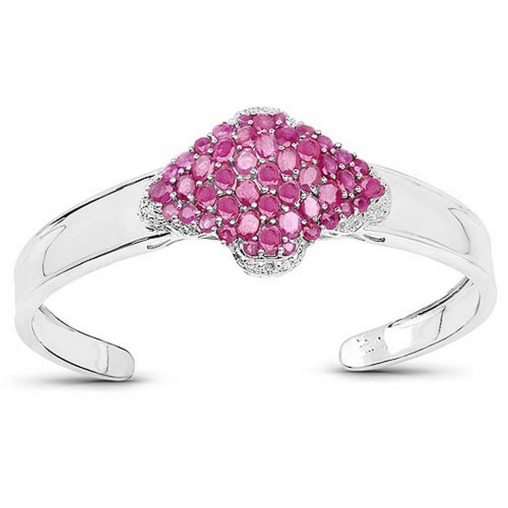 7.38 CTW Glass Filled Ruby Ruby and White Topaz .925 Sterling Silver Bangle