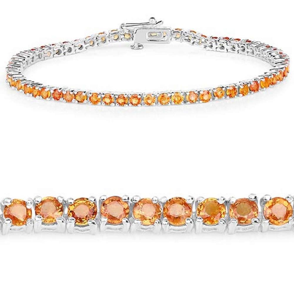7.70 CTW Genuine Orange Sapphire .925 Sterling Silver Bracelet