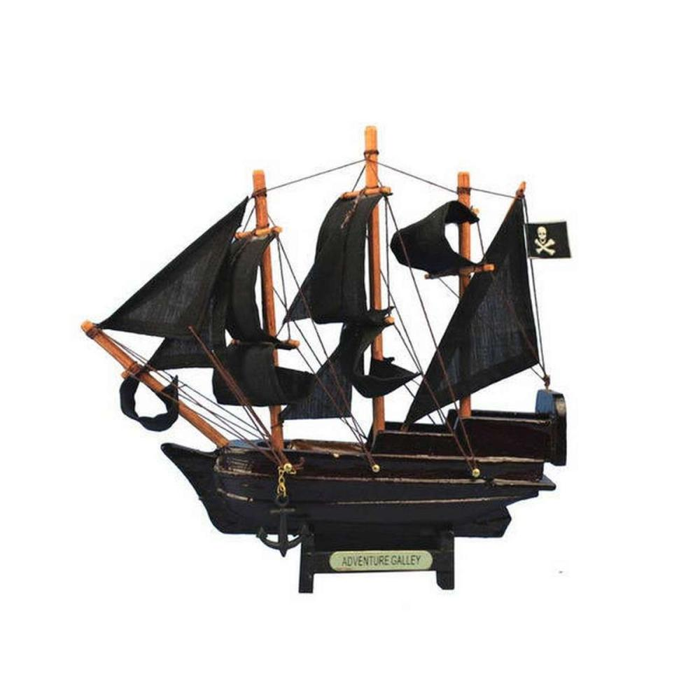 Wooden Captain Kidds Adventure Galley Model Pirate Ship 7in.