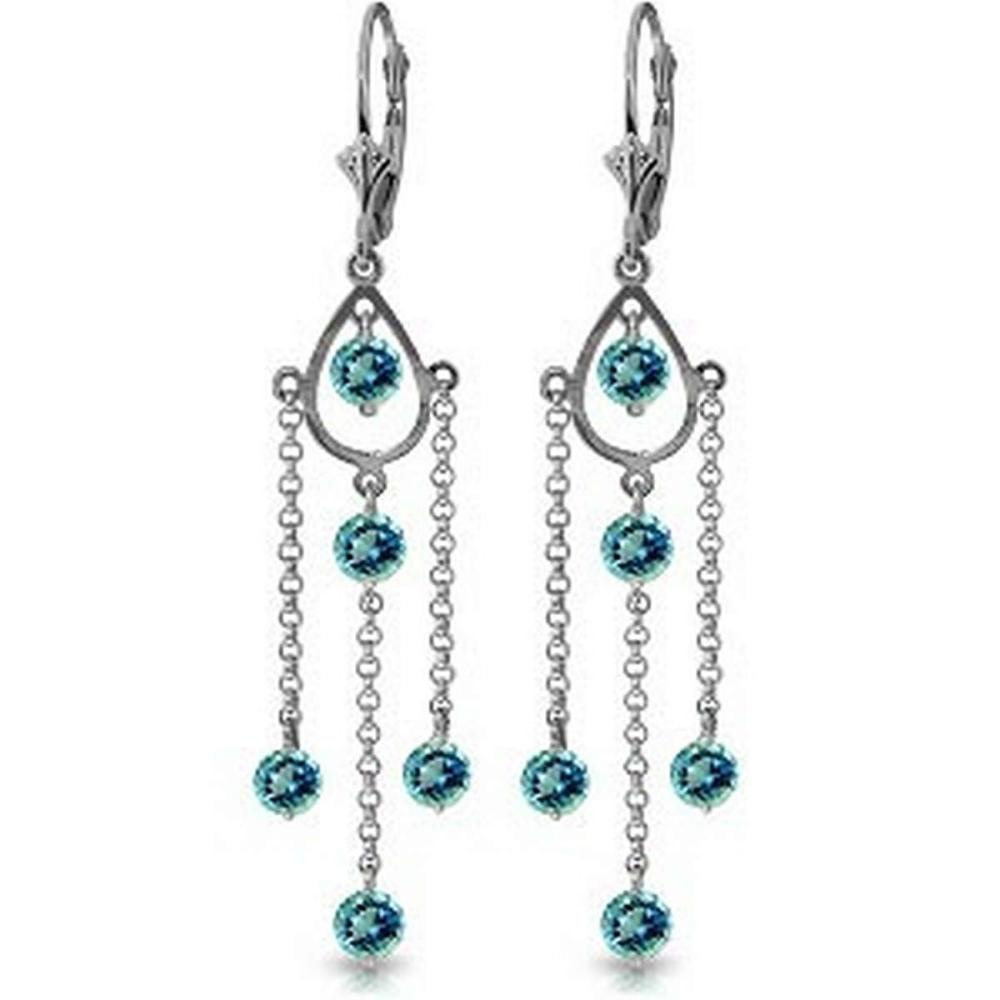 3 Carat 14K Solid Gold Spring Springs Blue Topaz Earrings