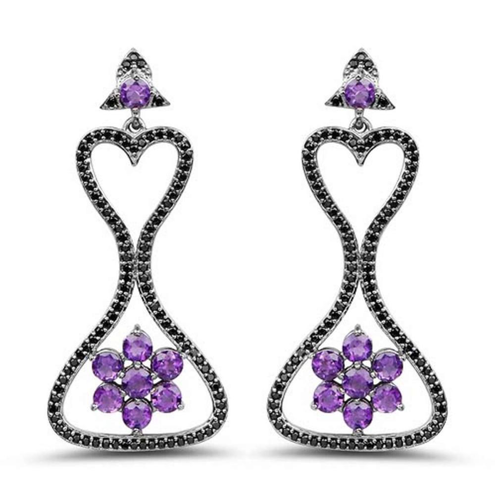 6.31 CTW Genuine Amethyst & Black Spinel .925 Sterling Silver Earrings