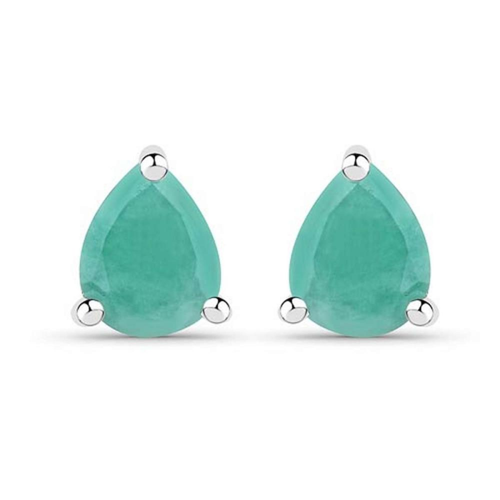 0.54 CTW Genuine Emerald .925 Sterling Silver Earrings