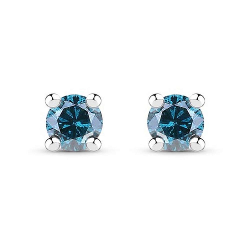 0.18 CTW Genuine Blue Diamond .925 Sterling Silver Earrings