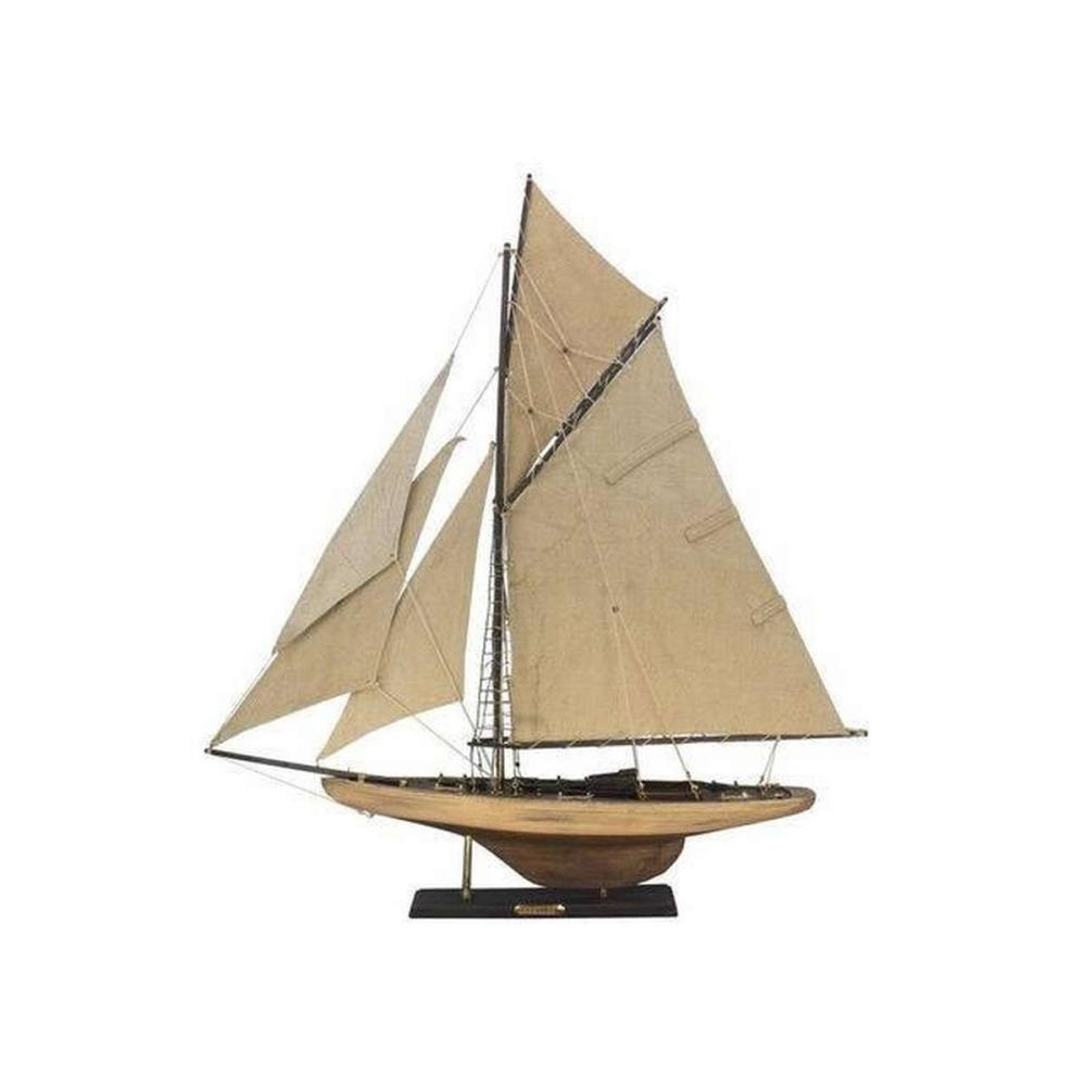 Wooden Rustic Columbia Model Sailboat Decoration Limited 30in.
