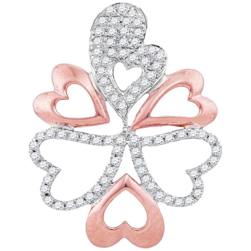10k White Gold Womens Rose-tone Round Diamond Oval Heart Cluster Pendant 1/5
