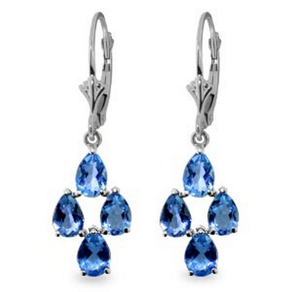 4.5 CTW 14K Solid White Gold Yield Blue Topaz Earrings