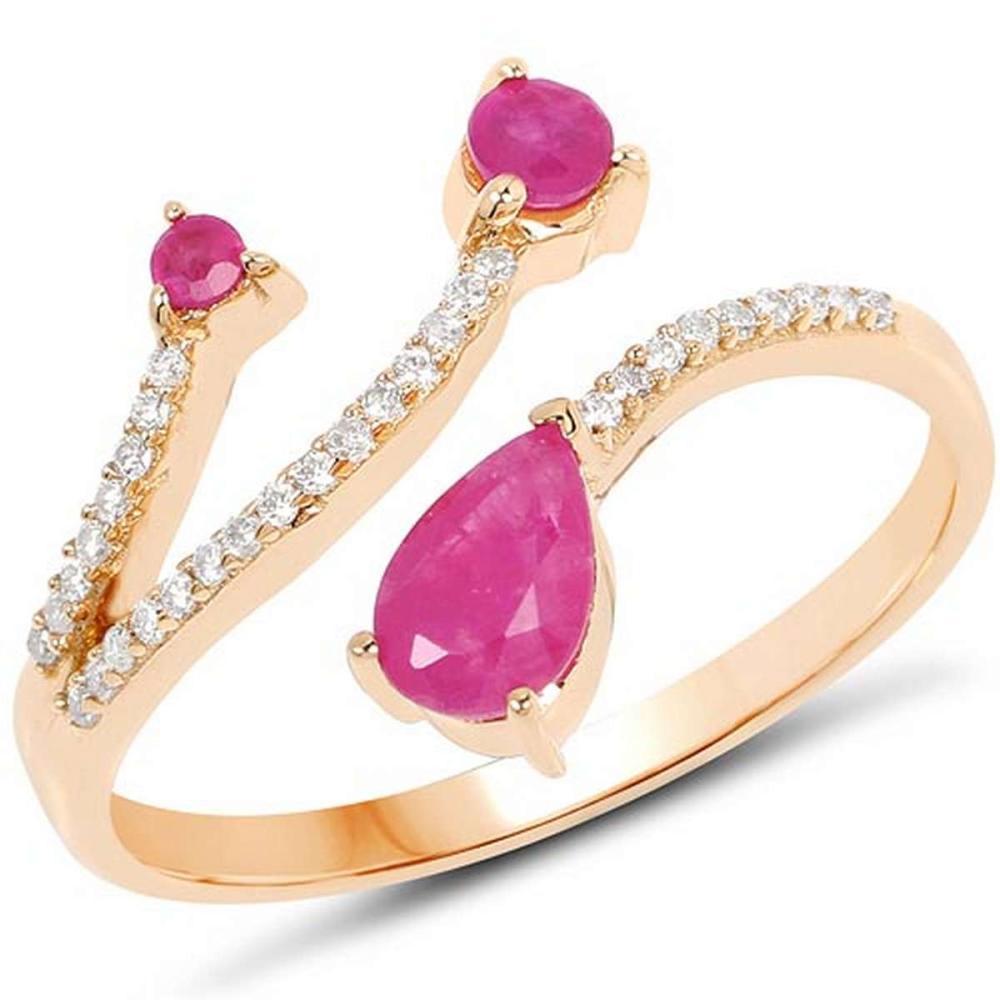 0.68 Carat Genuine Ruby and White Diamond 14K Yellow Gold Ring