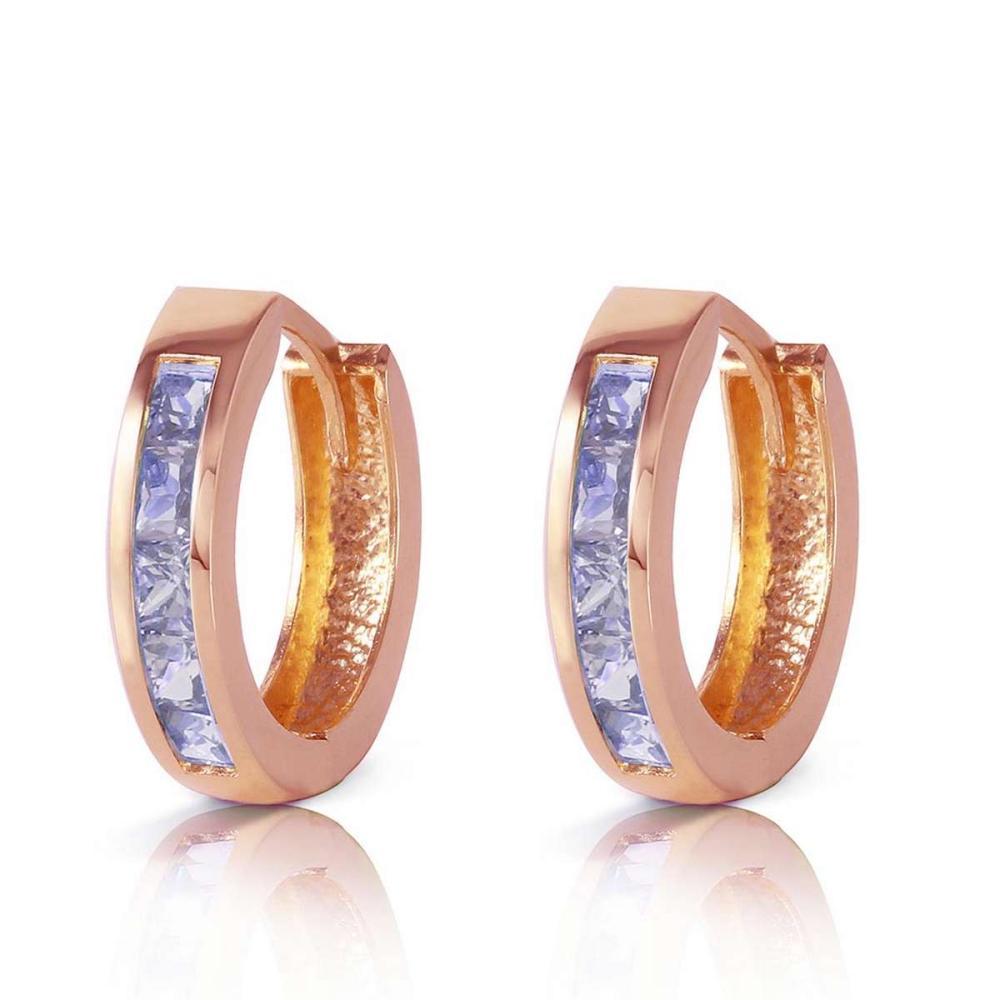 0.95 Carat 14K Solid Rose Gold Huggie Hoop Earrings Tanzanite