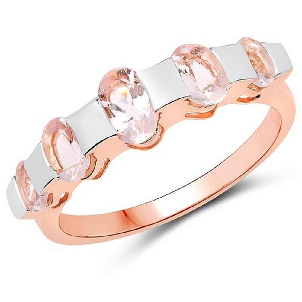 14K Rose Gold Plated 1.24 Carat Genuine Morganite .925 Sterling Silver Ring