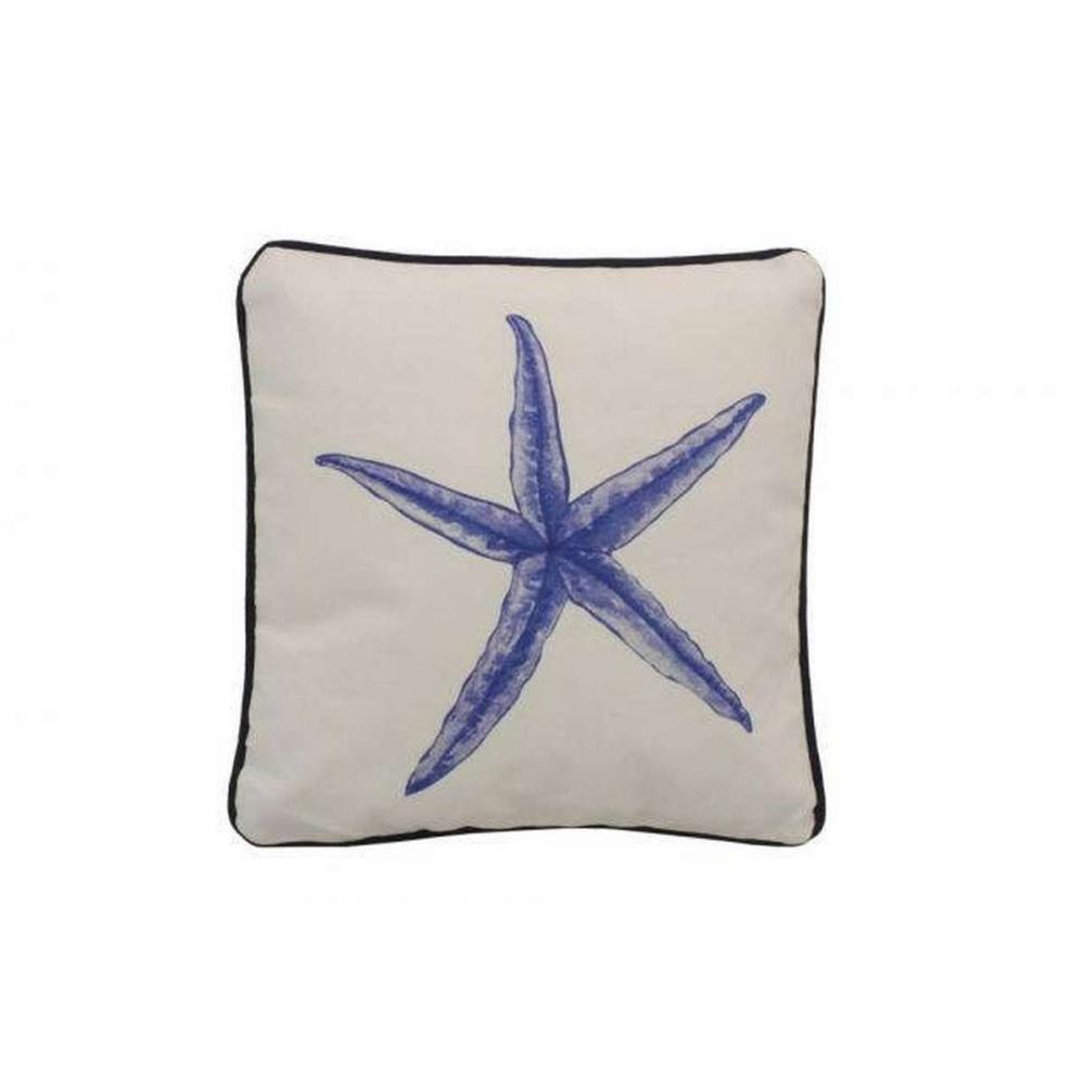 Blue and White Starfish Decorative Throw Pillow 10in.