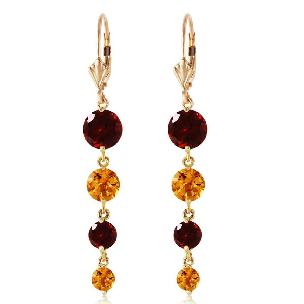 7.8 Carat 14K Solid Gold Drizzle Garnet Citrine Earrings