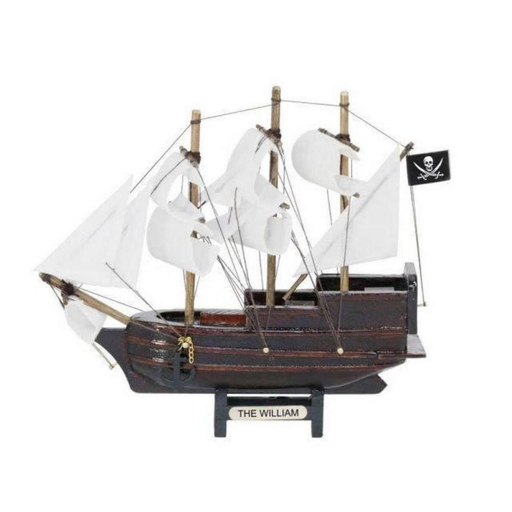 Wooden Calico Jacks The William White Sails Model Pirate Ship 7in.