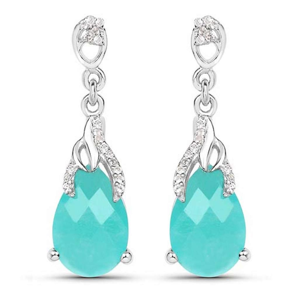 5.56 CTW Genuine Amazonite And White Topaz .925 Sterling Silver Earrings