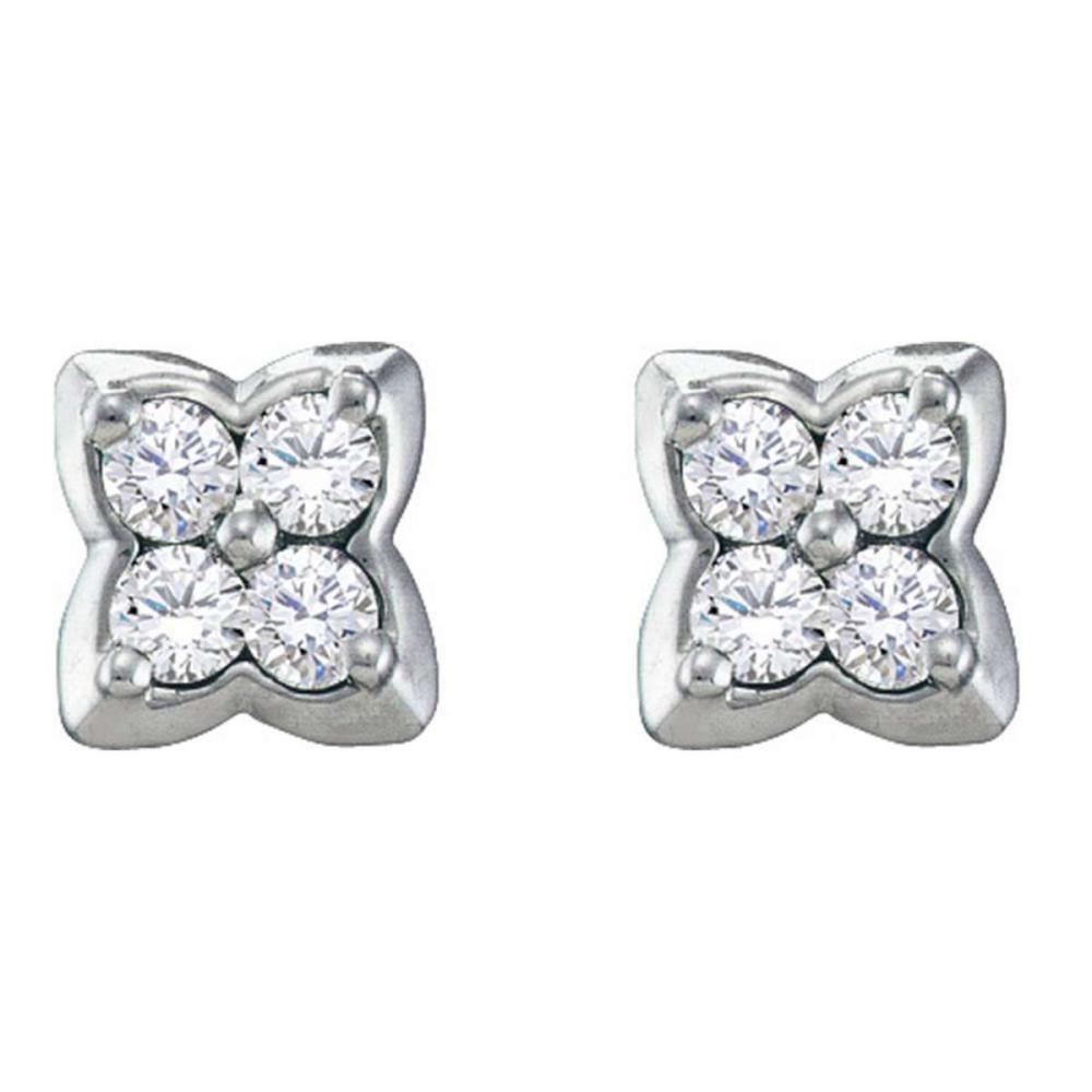 14k White Gold Womens Round Diamond Square-shape Cluster Stud Earrings 1/4 Cttw