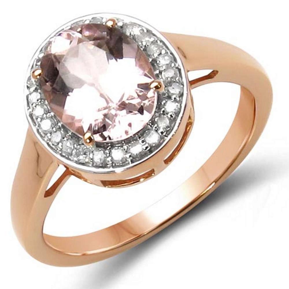 1.98 Carat Genuine Morganite & White Diamond 10K Rose Gold Ring