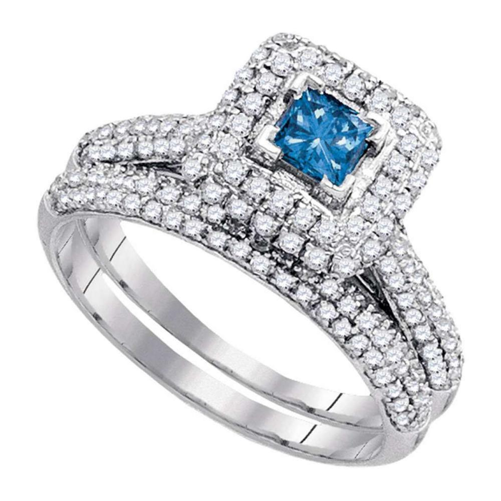14k White Gold Princess Blue Diamond Bridal Wedding Engagement Ring Set 1-1/4