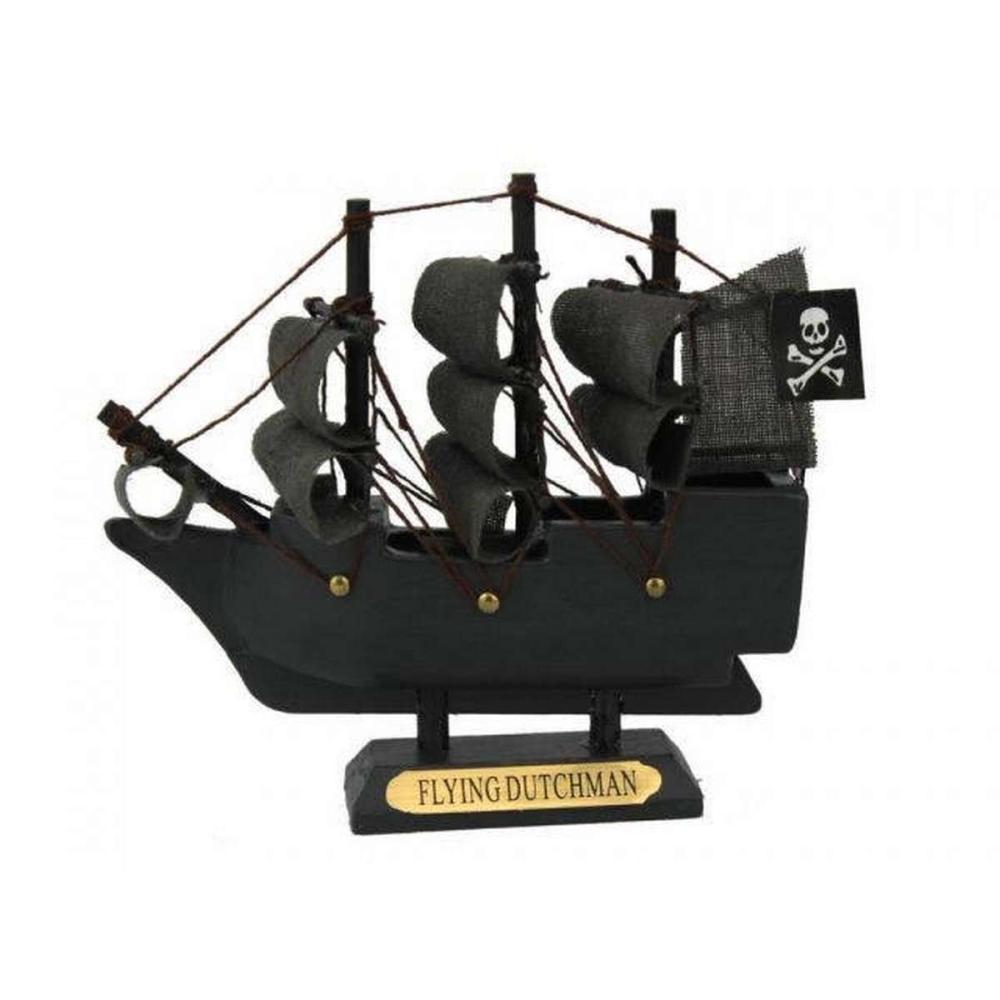 Wooden Flying Dutchman Model Pirate Ship 4in.