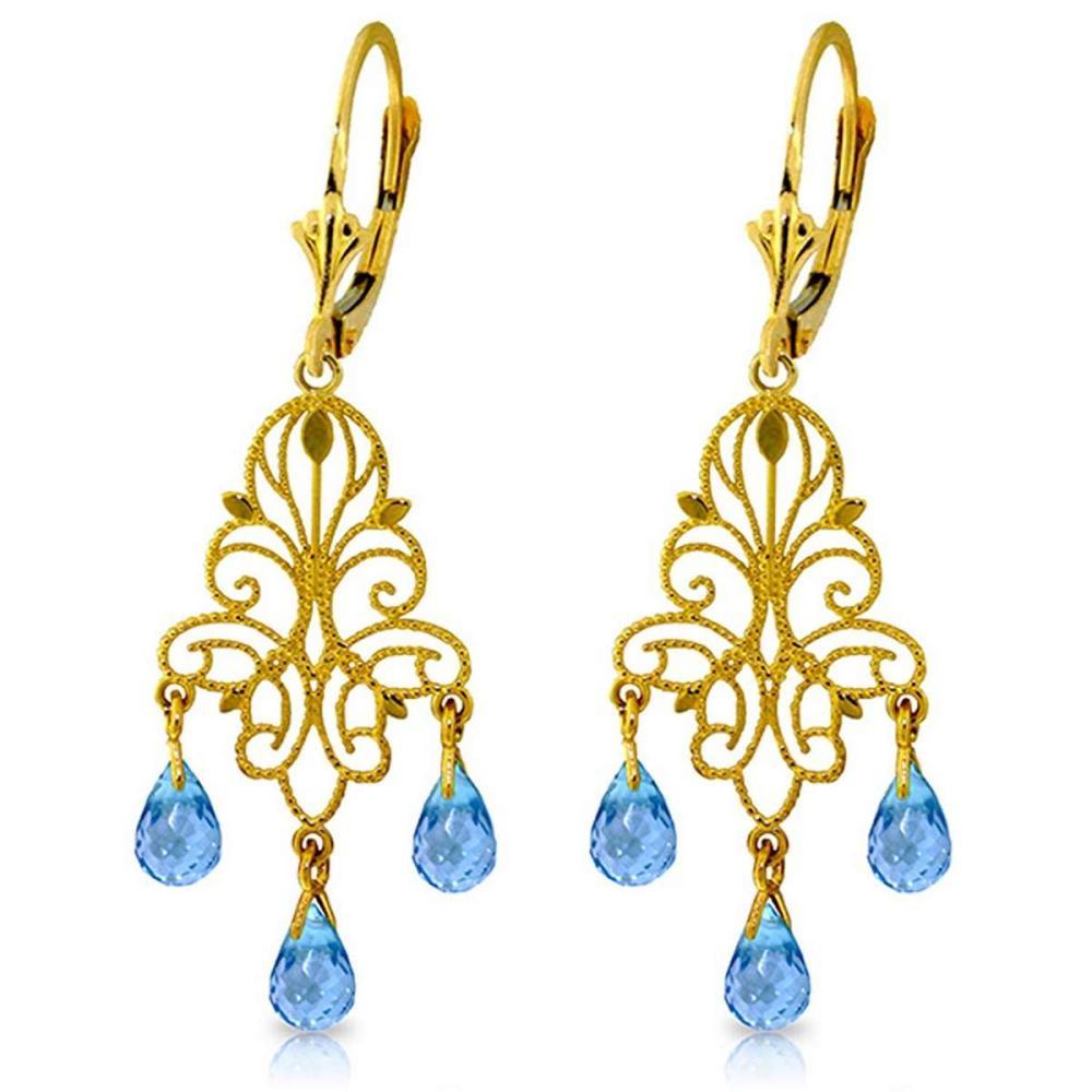 3.75 Carat 14K Solid Gold Mademoiselle Blue Topaz Earrings
