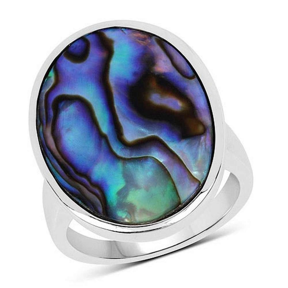 13.80 CTW Genuine Abalone .925 Sterling Silver Ring