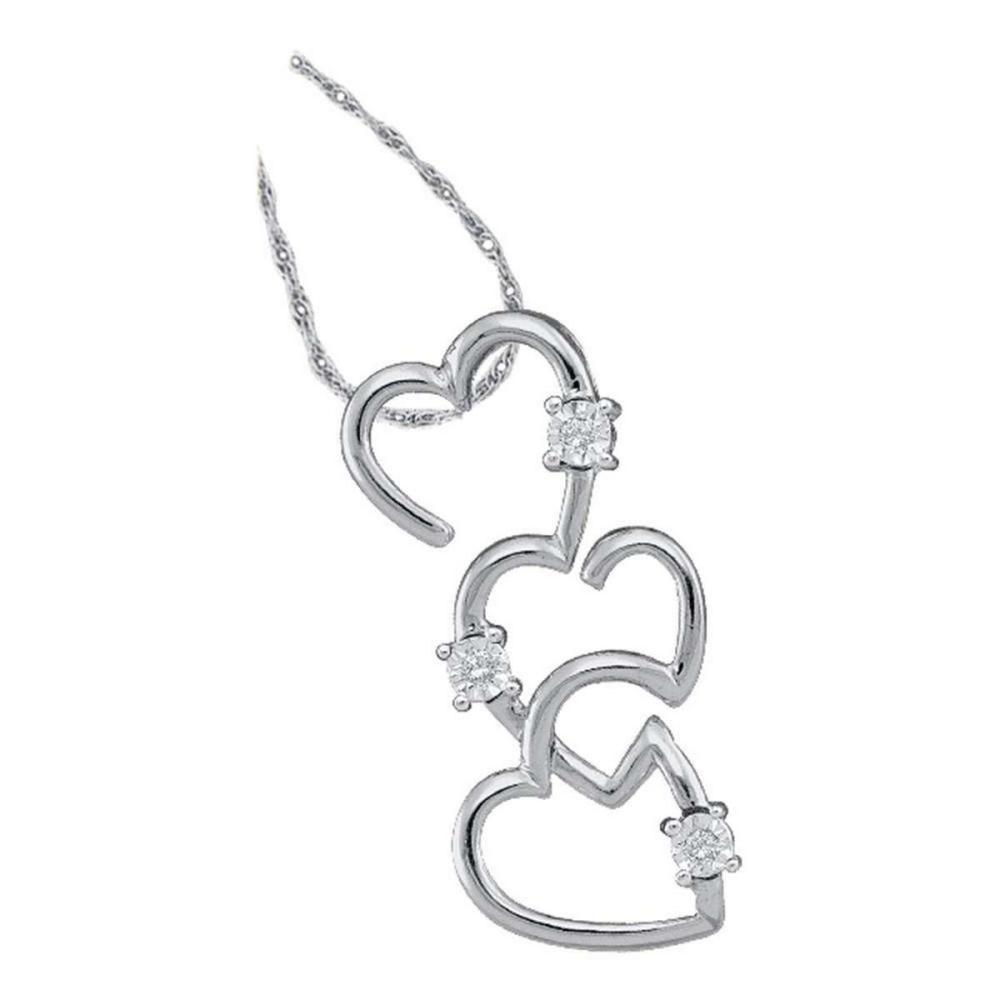 10k White Gold Womens Round Diamond Triple Trinity Heart Pendant .03