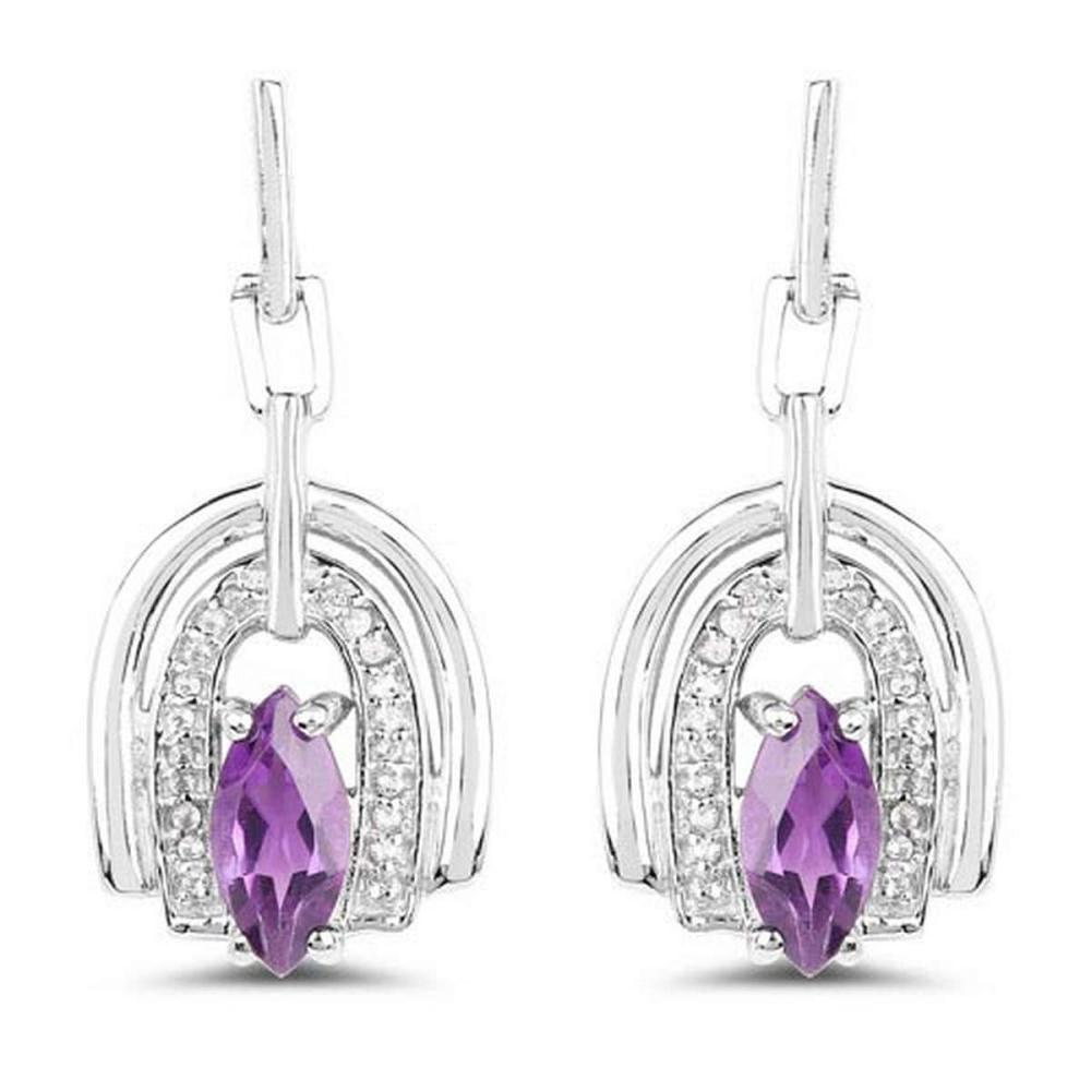 2.20 CTW Genuine Amethyst and White Topaz .925 Sterling Silver Earrings