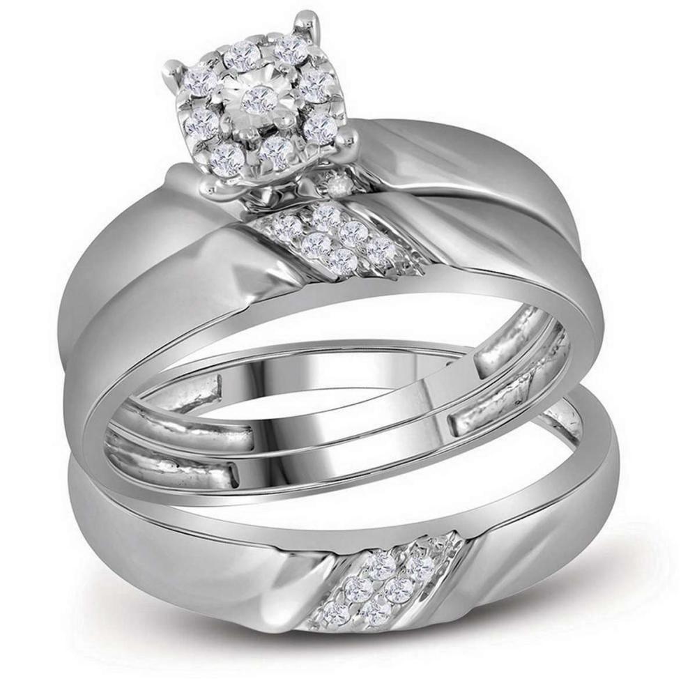 10kt White Gold His & Her Round Diamond Matching Bridal Wedding Ring Set